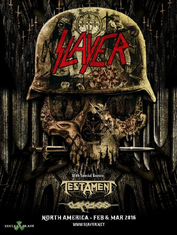 Slayer, Testament, Carcass 2016 North America Tour Flyer