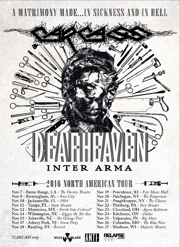 Carcass, Deafheaven, Inter Arma: 2-16 North American Tour Flyer